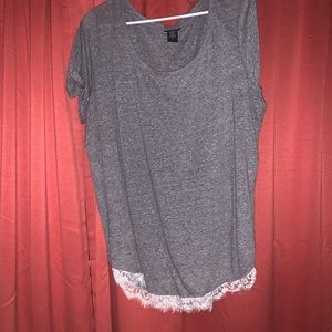 Torrid grey top with lacing on bottom